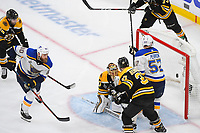 June 6, 2019: St. Louis Blues center Ryan O'Reilly (90) scroes a goal against Boston Bruins goaltender Tuukka Rask (40) during game 5 of the NHL Stanley Cup Finals between the St Louis Blues and the Boston Bruins held at TD Garden, in Boston, Mass. Eric Canha/CSM