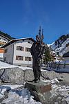 Hannes Schneider statue, Stuben Ski Area, St Anton, Austria
