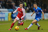 Ashley Hunter of Fleetwood Town under pressure from Callum Reilly of Gillingham during the Sky Bet League 1 match between Gillingham and Fleetwood Town at the MEMS Priestfield Stadium, Gillingham, England on 27 January 2018. Photo by David Horn.