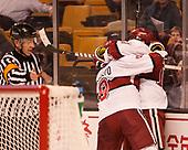 Luke Esposito (Harvard - 9), Alexander Kerfoot (Harvard - 14) - The Harvard University Crimson defeated the Northeastern University Huskies 4-3 in the opening game of the 2017 Beanpot on Monday, February 6, 2017, at TD Garden in Boston, Massachusetts.