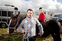 3/10/2010.  Traveller's Jimi O Donoghue and his son Connie from Cork pose with their pony Nancy at the Ballinasloe Horse Fair, Ballinasloe, County Galway, Ireland. Picture James Horan