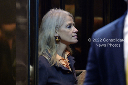 Kellyanne Conway, named as Counselor to the President-elect Donald Trump, is seen getting into an elevator in the  lobby of the Trump Tower in New York, NY, on January 10, 2017. <br /> Credit: Anthony Behar / Pool via CNP