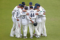 Essex players huddle during Lancashire CCC vs Essex CCC, Specsavers County Championship Division 1 Cricket at Emirates Old Trafford on 9th June 2018