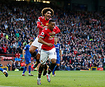 Anthony Martial of Manchester United celebrates scoring the fourth goal with Marouane Fellaini of Manchester United during the premier league match at the Old Trafford Stadium, Manchester. Picture date 17th September 2017. Picture credit should read: Simon Bellis/Sportimage