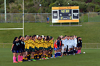 The teams line up before the 2017 International Women's Rugby Series rugby match between England Roses and Australia Wallaroos at Porirua Park in Wellington, New Zealand on Friday, 9 June 2017. Photo: Dave Lintott / lintottphoto.co.nz