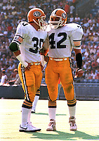 Dale Potter and Dan Kepley Edmonton Eskimos 1983. Copyright photograph Scott Grant