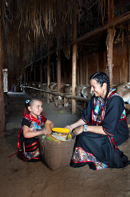Ojibwe mother and daughter dressed in traditional ribbon dresses with a large basket of corn inside a bark covered longhouse