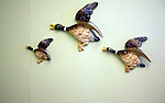 Three china flying ducks on wall, Museum of East Anglian Life, Stowmarket, Suffolk