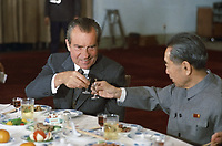 US President Richard Nixon and Chinese Premier Zhou Enlai toast, February 25, 1972<br /> <br /> PHOTO : White House Photographer