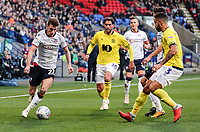 Bolton Wanderers' Joe Williams breaks under pressure from Blackburn Rovers' Danny Graham and Derrick Williams<br /> <br /> Photographer Andrew Kearns/CameraSport<br /> <br /> The EFL Sky Bet Championship - Bolton Wanderers v Blackburn Rovers - Saturday 6th October 2018 - University of Bolton Stadium - Bolton<br /> <br /> World Copyright © 2018 CameraSport. All rights reserved. 43 Linden Ave. Countesthorpe. Leicester. England. LE8 5PG - Tel: +44 (0) 116 277 4147 - admin@camerasport.com - www.camerasport.com