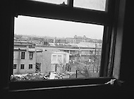 08 Apr 1968, Memphis, Tennessee, USA. View from the window used  by James Earl Ray, on April 4 at 6:01pm, to kill Martin Luther King while he was standing on the balcony of his room 306, at the second floor of Lorrain Motel.