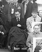 Former Democratic candidate for the President of the United States, Governor George C. Wallace (Democrat of Alabama), in wheelchair, listens as US President Richard M. Nixon delivers his Inaugural speech at the US Capitol in Washington, DC on January 20, 1973.  Wallace was paralyzed after suffering a gunshot wound while campaigning for the nomination in Maryland.  At lower right is entertainer Bob Hope, a big Nixon supporter during the campaign.<br /> Credit: Arnie Sachs / CNP