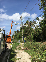 2017 FPL Hurricane Irma restoration in Pompano Beach, Fla. on Sept. 11, 2017<br /> Crews are on pine island road just south of southgate blvd in Tamarac