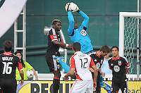 D.C. United goalkeeper Bill Hamid (28) goes up to make a save. D.C. United defeated Toronto FC 3-1 at RFK Stadium, Saturday May 19, 2012.