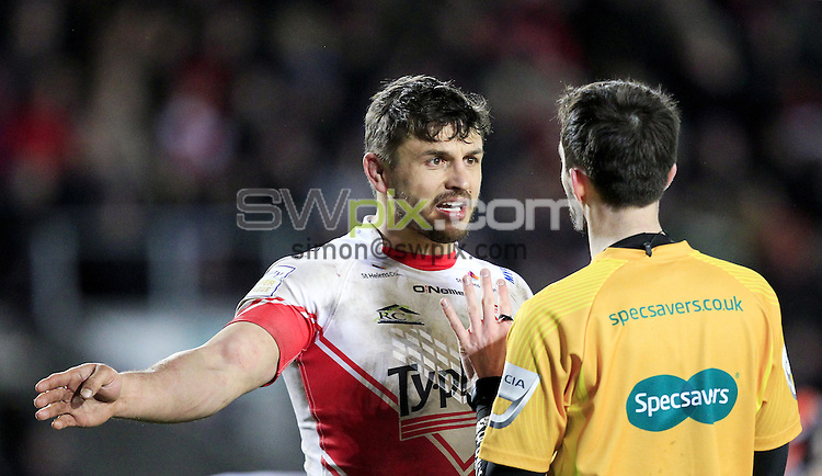 PICTURE BY CHRIS MANGNALL /SWPIX.COM...<br /> Rugby League - Super League - St Helens Saints v Castleford Tigers   - Langtree Park Stadium, , England  - 04/03/16<br /> St Helens Jon Wilkin and Referee Ref James Child