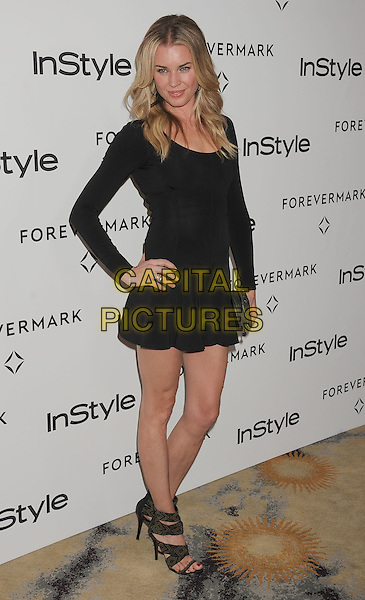 Rebecca Romijn.Forevermark and In Style 'A Promise of Beauty and Brilliance' held at The Beverly Hills Hotel in Beverly Hills, California, USA..January 10th, 2012.full length dress long sleeves clutch bag black ankle strap shoes open toe hand on hip sandals .CAP/ROT/TM.©Tony Michaels/Roth Stock/Capital Pictures