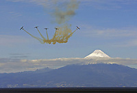 Chilean Air Force exhibition over the Llanquihue Lake near Volcano Osorno, Puerto Varas, South of Chile