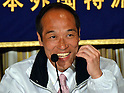 (April 7, 2011), Tokyo, Japan - Former Gov. Hideo Higashikokubaru of Miyazaki prefecture, southern Japan, flashes a toothy grin as he speaks during a news conference at Tokyo Foreign Correspondent Club of Japan on Thursday, April 7, 2011. The 53-year-old comedian-turned-politician tossed his hat in the ring, running in the April 10 Tokyo gubernatorial election as an independent against incumbent Shintaro Ishihara. (Photo by Natsuki Sakai/AFLO) [3615] -mis-..
