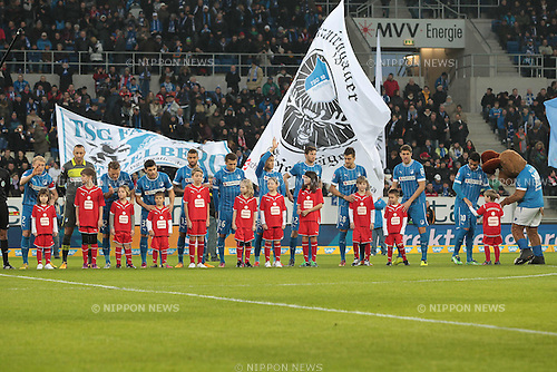 Hoffenheim team group line-up,.FEBRUARY 17, 2013 - Football / Soccer :.Takashi Usami of Hoffenheim waves as he lines up with his teammates before the Bundesliga match between TSG 1899 Hoffenheim 0-1 VfB Stuttgart at Rhein-Neckar-Arena in Sinsheim, Germany. (Photo by AFLO)