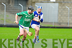 Ballyduff's Jason Bowler and St Brenadan's Kieran Fitzgeald and David Griffin in action in the U21 hurling championship at Austin Stack Park.