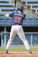 Rome Braves Hilton Richardson #15 awaits a pitch during  a game against  the Asheville Tourists at McCormick Field in Asheville,  North Carolina;  May 18, 2011. The Braves won the game 8-7.  Photo By Tony Farlow/Four Seam Images
