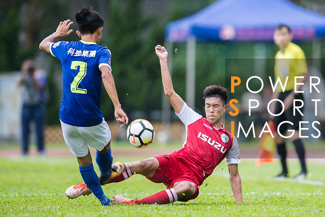 Wang Fung Hui of Kwoon Chung Southern (R) trips up with Wang Kit Tsui of Rangers (L) during the Premier League, week two match between Kwoon Chung Southern and BC Rangers at on September 09, 2017 in Hong Kong, China. Photo by Marcio Rodrigo Machado / Power Sport Images