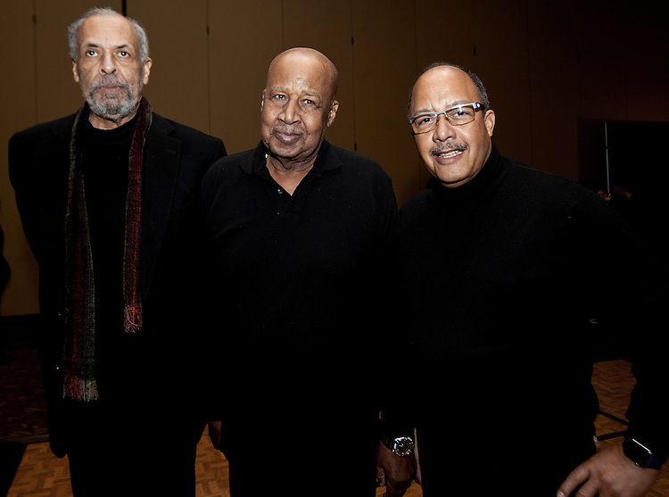 Members of the Ohio University faculty - Arthur Cromwell, left, John L. Butler Jr., center, and Gary Kirksey at the All Black Affair at Baker University Center Ballroom at Ohio University on Friday, January 29, 2016. © Ohio University / Photo by Sonja Y. Foster