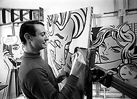 Roy Lichtenstein in his studio in New York