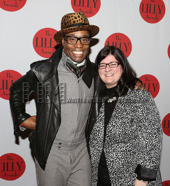 Billy Porter and Barbara Anselmi backstage at The Lilly Awards Broadway Cabaret'   at The Cutting Room on November 9, 2015 in New York City.