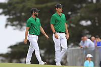 Adam Hadwin (International) and Joaquin Niemann (International) on the 10th fairway during the Second Round - Foursomes of the Presidents Cup 2019, Royal Melbourne Golf Club, Melbourne, Victoria, Australia. 13/12/2019.<br /> Picture Thos Caffrey / Golffile.ie<br /> <br /> All photo usage must carry mandatory copyright credit (© Golffile | Thos Caffrey)