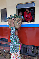 Myanmar, Burma.  Vendor Selling Avocados  to Passengers at Kalaw Train Station.