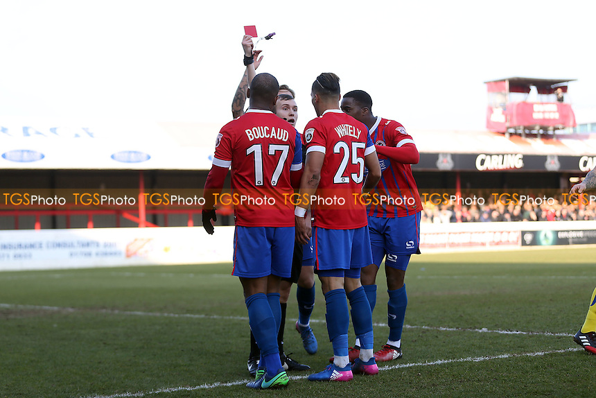 Corey Whitely (25) of Dagenham is sent off by referee Antony Coggins during Dagenham & Redbridge vs Guiseley, Vanarama National League Football at the Chigwell Construction Stadium on 18th February 2017