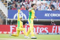 Pat Cummins (Australia) turns to celebrate as Alex Carey (Australia) claims the catch during Australia vs England, ICC World Cup Semi-Final Cricket at Edgbaston Stadium on 11th July 2019