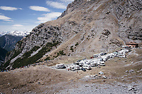 impromptu village with fans waiting for the riders to come up this years Cima Coppi: the Passo dello Stelvio (alt: 2758m)<br /> <br /> Stage 16: Rovett &rsaquo; Bormio (222km)<br /> 100th Giro d'Italia 2017