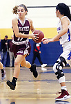 WATERBURY CT. 18 February 2018-021819SV07-#11 Mia Rotatori of Naugatuck High catches a pas while bringing the ball up court as #11 Janessa Gonzalez of St. Paul defends during the NVL semi final at Kennedy High in Waterbury Monday.<br /> Steven Valenti Republican-American