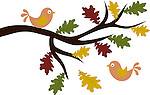 Cute vector illustration of two love birds and an oak tree branch with autumn color leaves, isolated on white background.<br />