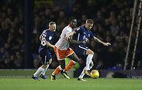 Blackpool's Joe Dodoo gets in between Southend United's Sam Mantom and Jason Demetriou<br /> <br /> Photographer Rob Newell/CameraSport<br /> <br /> The EFL Sky Bet League One - Southend United v Blackpool - Saturday 17th November 2018 - Roots Hall - Southend<br /> <br /> World Copyright &copy; 2018 CameraSport. All rights reserved. 43 Linden Ave. Countesthorpe. Leicester. England. LE8 5PG - Tel: +44 (0) 116 277 4147 - admin@camerasport.com - www.camerasport.com