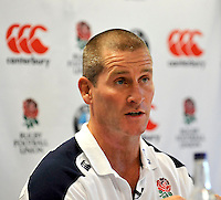 Mortimer, England, England rugby head coach Stuart Lancaster speaks at a press conference during the Launch of BMW Group UK's new partnership with the RFU including investment in the RFU National Academy Programme and front of shirt sponsorship for the England Under-20, Under-18 and Under-16 squads at  BMW Group Academy, Mortimer, England, September 25.