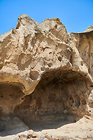 Picture &amp; image of cave dwellings, Uplistsikhe (Lords Fortress) troglodyte cave city, near Gori, Shida Kartli, Georgia. UNESCO World Heritage Tentative List<br /> <br /> Inhabited from the early Iron age to the late middle ages Uplistsikhe cave city eas, during the Roman &amp; Hellenistic period, home to around 20,000 people.