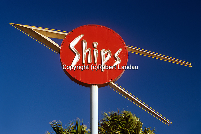 Space age inspired Ships Coffee Shop sign in Los Angeles, CA