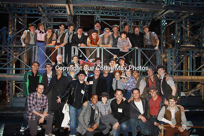 Newsies cast photo - The Newsies Fan Day at The Paper Mill Playhouse on October 2, 2010 in Millburn, New Jersey with current cast members and cast members of the film. It was a day of events to all devoted fans of Newsies - Radio Disney at 4 pm, executive reception for members of the original cast of Newsies (the movie) followed by a talkback, Q&A in the theater - all this followed by the evening performance of Newsies with the Curtain Call, old cast meets new cast and a cast photo of all. (Photo by Sue Coflin/Max Photos)