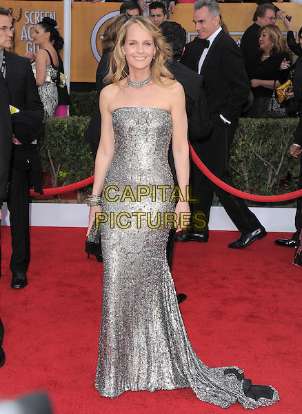 Helen Hunt.Arrivals at the 19th Annual Screen Actors Guild Awards at the Shrine Auditorium in Los Angeles, California, USA..27th January 2013.SAG SAGs full length silver strapless dress sequins sequined .CAP/DVS.©DVS/Capital Pictures.