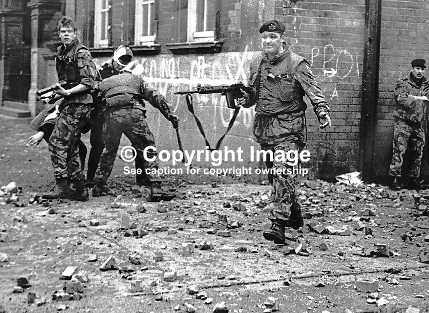 British soldiers of 1st Battalion, Glosters, came under serious attack by rioters in West Belfast on 17th October 1974, the day after republican prisoners set fire to the Maze Prison, near Lisburn, N Ireland. More than 130 prisoners were injured in the trouble - nine needed hospital treatment. One officer was treated for a suspected fractured skull. Troops were brought in to quell the violence. 19741016001a<br />