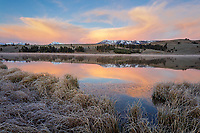 Yellowstone National Park, WY: Colorful sunrise on Swan Lake Flats with Gallatin Range in the distance