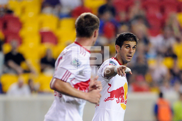 Carlos Mendes (44) of the New York Red Bulls talks with Jan Gunnar Solli (8). The New York Red Bulls defeated Toronto FC 5-0 during a Major League Soccer (MLS) match at Red Bull Arena in Harrison, NJ, on July 06, 2011.