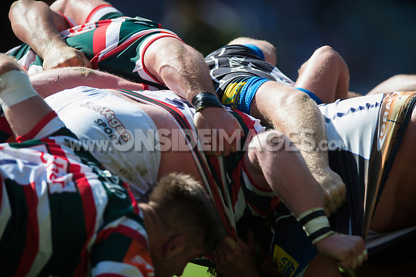 A general view of a scrum. The Clash, Aviva Premiership match, between Bath Rugby and Leicester Tigers on April 8, 2017 at Twickenham Stadium in London, England. Photo by: Patrick Khachfe / Onside Images