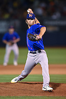 Midland RockHounds pitcher Blake Hassebrock (10) delivers a pitch during a game against the Tulsa Drillers on May 30, 2014 at ONEOK Field in Tulsa, Oklahoma.  Tulsa defeated Midland 7-1.  (Mike Janes/Four Seam Images)
