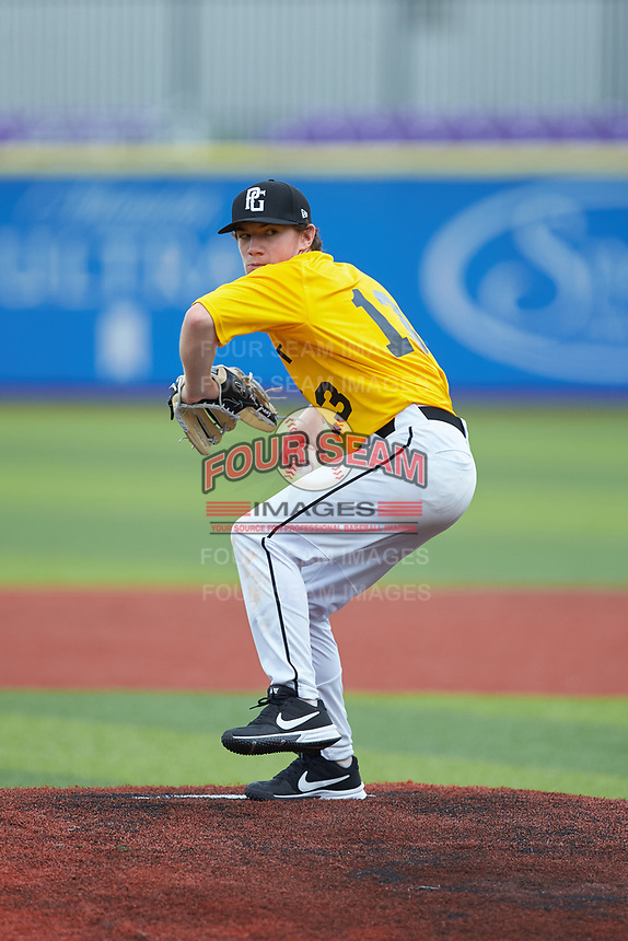Andrew Franz (13) of Northwest Guilford High School in Kernersville, NC during the Atlantic Coast Prospect Showcase hosted by Perfect Game at Truist Point on August 23, 2020 in High Point, NC. (Brian Westerholt/Four Seam Images)