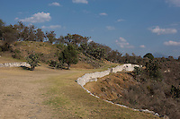 A retaining wall in Sector A, part of the Plaza #1. Archeological site Tepeticpac, Tlaxcala, Mexico
