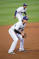 Winston-Salem Dash third baseman Trey Michalczewski (8) on defense against the Potomac Nationals at BB&T Ballpark on April 30, 2015 in Winston-Salem, North Carolina.  The Nationals defeated the Dash 5-4..  (Brian Westerholt/Four Seam Images)